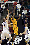 Wyoming's  Wyoming's Hank Hankerson drives past Northern Iowa's Matt Bohannon (5) in the 2015 NCAA Division I Men's Basketball Championship March 20, 2015 at the Key Arena in Seattle, Washington.   Northern Iowa beat Wyoming 71 to 54.   ©2015.  Jim Bryant Photo. All Rights Reserved.