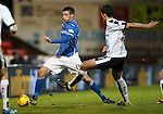 St Johnstone v Dundee....27.11.15  SPFL  McDiarmid Park, Perth<br /> Joe Shaughnessy and Julen Etxabeguren<br /> Picture by Graeme Hart.<br /> Copyright Perthshire Picture Agency<br /> Tel: 01738 623350  Mobile: 07990 594431