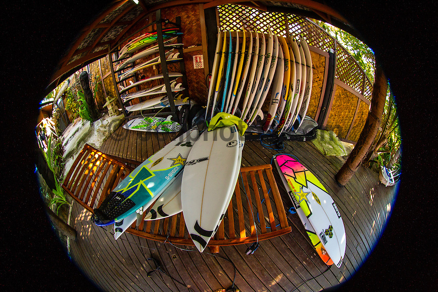 CLOUDBREAK, Tavarua/Fiji (Wednesday, June 5, 2012) One of the surfboard racks on Namotu with boards belonging to Owen Wright (AUS), Adam Melling (AUS) and Yadin Nichol (AUS). -  Small surf today resulted in a lay day for the Volcom Fiji Pro.  Photo: joliphotos.com