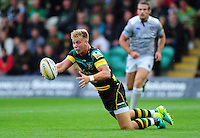 Harry Mallinder of Northampton Saints passes the ball. Aviva Premiership match, between Northampton Saints and Bath Rugby on September 3, 2016 at Franklin's Gardens in Northampton, England. Photo by: Patrick Khachfe / Onside Images