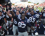 Mississippi defensive tackle Uriah Grant (93) and the rest of the team celebrate following a win vs. Auburn at Vaught-Hemingway Stadium in Oxford, Miss. on Saturday, October 13, 2012. Mississippi won 41-20. (AP Photo/Oxford Eagle, Bruce Newman)..