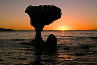 Balandra Beach and Balancing Rock near Los Azabaches, Baja California, Mexico at sunset