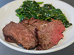 Soy Sauce BBQ Shoulder roast with stir fried Spinach with garlic. ©2016.  Jim Bryant Photo. All Rights Reserved.