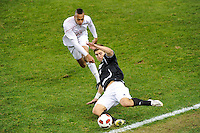 John Raley (6) of the Providence Friars saves a ball. The Providence Friars defeated the Cincinnati Bearcats 2-1 during the semi-finals of the Big East Men's Soccer Championship at Red Bull Arena in Harrison, NJ, on November 12, 2010.