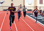 TORRINGTON, CT-051017JS04- Sacred Heart's Mrchai Hayes dominated the field to win the 400m run during their meet with Torrington and Wilby Wednesday at Torrington High School. <br /> Jim Shannon Republican-American