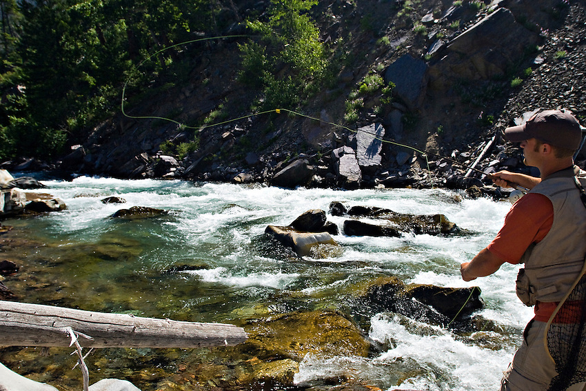 An angler fly fishing the North Fork of the Blackfoot River near Missoula Montana.