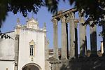 Roman Temple - Diana with San Joao Church, Evora, Alentejo, Portugal