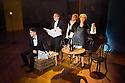 London, UK. 09.10.2014. Mountview Academy of Theatre Arts presents CURTAINS, at the Bernie Grant Arts Centre. Picture shows: Scott Hunter (AARON FOX), Liam Farrow (OSCAR SHAPIRO), Lottie Henshall (GEORGIA HENDRICKS) and Chloe Carroll (CARMEN BERNSTEIN).  Photograph © Jane Hobson.