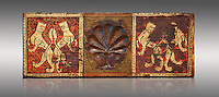Gothic decorative painted beam panels with lions and a carved syalise tree, Tempera on wood. National Museum of Catalan Art (MNAC), Barcelona, Spain