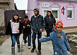"""THIS PHOTO IS AVAILABLE AS A PRINT OR FOR PERSONAL USE. CLICK ON """"ADD TO CART"""" TO SEE PRICING OPTIONS.   Following worship, children and youth leave the United Methodist Roma congregation in Jabuka, Serbia.."""