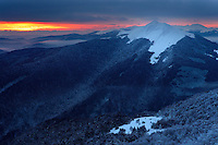 View at Polonina Carynska from Polonina Wetlinska at sunrise, Bieszczady National Park, Poland