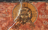 Fresco of the head of Christ, repainted in 1591 at the behest of the priest father Konstandin and his brothers Dimitre and Jan, in the Cathedral of St Nicholas inside Berat Castle or Kalaja e Beratit, in Berat, South-Central Albania, capital of the District of Berat and the County of Berat. Picture by Manuel Cohen