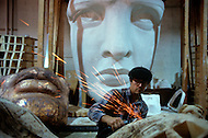 Nov 1985, New York City, New York: Part of the the Statue of Liberty under renovation to go in the Statue of Liberty Museum. The renovation was carried out by LCM corporation ( Les Metalliers Champenois) based in Patterson, New Jersey. LCM was founded by french artisans who came from france for the restoration.