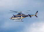 24 September 2016: A New York State Police Bell 430 Helicopter flies over a University of Vermont Men's NCAA soccer game at Virtue Field in Burlington, Vermont. The UVM and Dartmouth College played to an overtime 1-1 tie in front of an Alumni Weekend crowd of 1,710 fans. Mandatory Credit: Ed Wolfstein Photo *** RAW (NEF) Image File Available ***