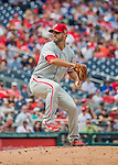 11 September 2016: Philadelphia Phillies starting pitcher Adam Morgan on the mound against the Washington Nationals at Nationals Park in Washington, DC. The Nationals edged out the Phillies 3-2 to take the rubber match of their 3-game series. Mandatory Credit: Ed Wolfstein Photo *** RAW (NEF) Image File Available ***