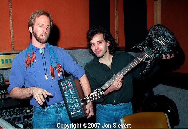 """John Cuniberi, Joe Satriani recording """"Flying in a Blue Dream."""""""