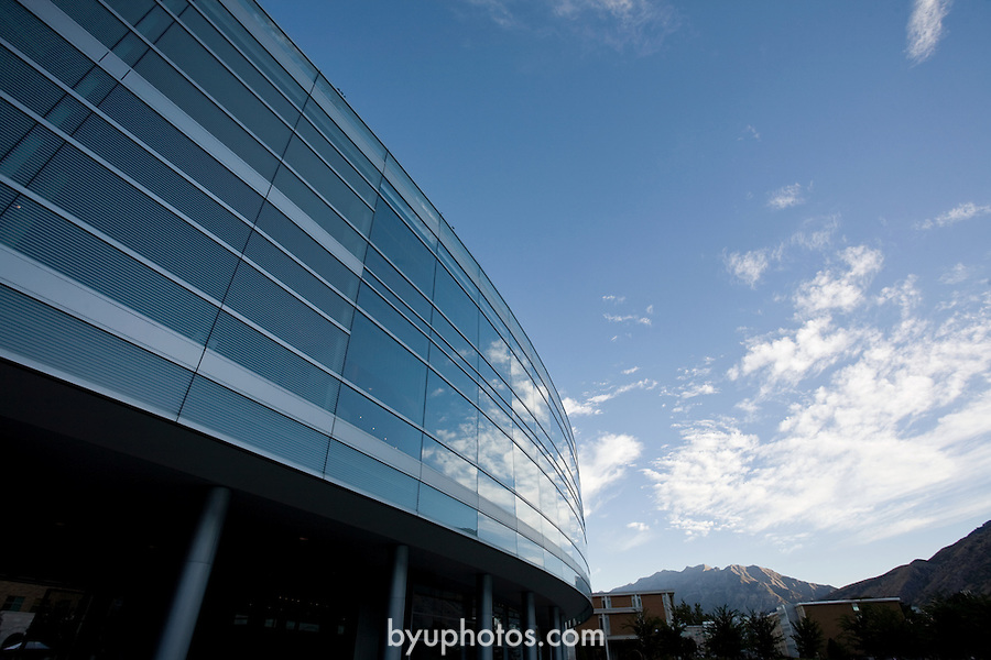 0709-10 GCS First Day of Class..JFSB Glass Front, morning sky, clouds, reflection.September 1, 2007..Photo by Jaren Wilkey/BYU..Copyright BYU Photo 2007.All Rights Reserved.photo@byu.edu  (801)422-7322