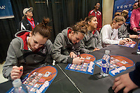 INDIANAPOLIS, IN - APRIL 2, 2011: Ashley Cimino and Hannah Donaghe during the post-practice autograph session at Conseco Fieldhouse at the NCAA Final Four in Indianapolis, IN on April 1, 2011.