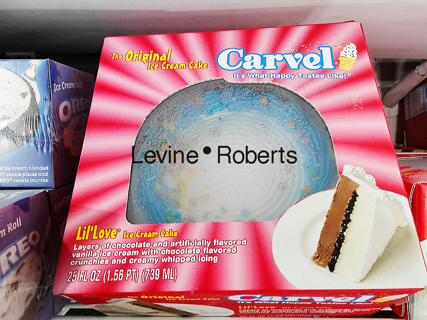 Carvel brand ice cream cakes in a supermarket freezer in New York on Monday, April 4, 2016. Carvel, primarily a Northeast chain, recently announced expansion plans across the country in an arrangement with the Cinnabon and Auntie Annes' chains. All three brands are owned by Focus Brands. The 82 year old Carvel brand has over 400 locations on the East Coast and in Florida. (©Richard B. Levine)