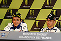 May 20, 2010 - Le Mans, France - Valentino Rossi (L) and Jorge Lorenzo (R) are pictured during the French Grand Prix at le Mans circuit, France, on May 20, 2010. (Photo Andrew Northcott/Nippon News).