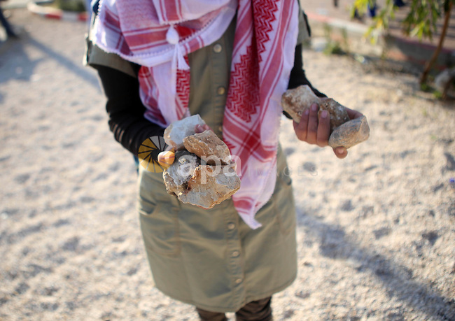 A female Palestinian protester holds stones during clashes with Israeli security forces in Beit El on the outskirts of the West Bank city of Ramallah, November 29, 2015. Photo by Shadi Hatem