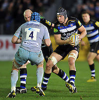 Charlie Ewels of Bath Rugby in possession. Aviva Premiership match, between Bath Rugby and Northampton Saints on December 5, 2015 at the Recreation Ground in Bath, England. Photo by: Patrick Khachfe / Onside Images