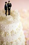 Non-Traditional marriage ceremony, gay, white men on wedding cake wearing tuxedo's, Marysville, Washington USA