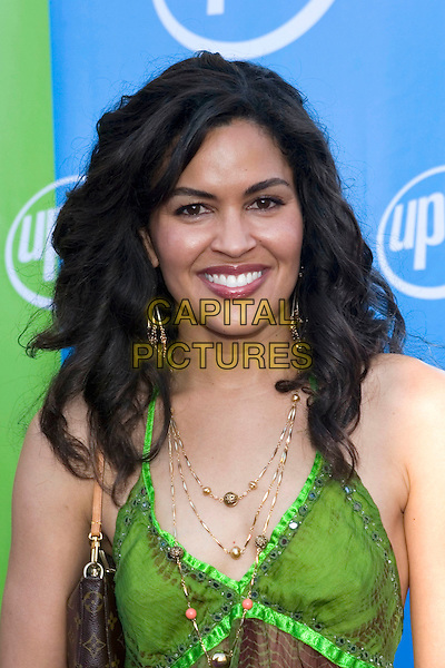 ION OVERMAN.UPN Summer Press Tour Party .Paramount Studios.Los Angeles, 21st July 2005.portrait headshot green wine strapless top gold necklace handbag earring eye contact.www.capitalpictures.com.sales@capitalpictures.com.© Capital Pictures.