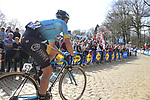 Ruslan Tleubayev (KAZ) Astana on the famous cobbled climb of Kemmelberg during Gent-Wevelgem in Flanders Fields 2017 running 249km from Denieze to Wevelgem, Flanders, Belgium. 26th March 2017.<br /> Picture: Eoin Clarke | Cyclefile<br /> <br /> <br /> All photos usage must carry mandatory copyright credit (&copy; Cyclefile | Eoin Clarke)