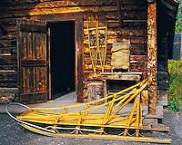 Detail of Alaskan Cabin & Sleigh, Denali National Park & Preserve, Alaska    Traditional Alaskan outback cabin