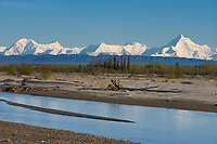 Mount Hayes is the highest mountain in the eastern Alaska Range. 13,832 ft (4,216 m). Tanana river in the foreground.
