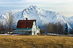 The barn atop Bailey Hill near Palmer, Alaska sits against Pioneer Peak, in the coastal Chugach Mountain Range of Alaska.