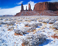 Three Sisters and fresh snow, Monument Valley Tribal Park, Arizona     Rare snowfall     Navajo Reservation