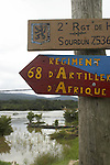Signs at French military outpost on the Marowijne River in French Guyana.