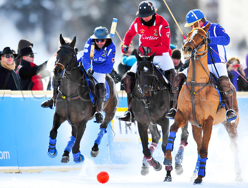 January 31, 2010: The World Cup of Polo on Snow put  two teams in the finals, Cartier vs Julius Baer. Cartier came out on top to take the title after a 3-3 tie brake. Photo: John C Middlebrook/Actionplus- Uk Editorial Use Only.