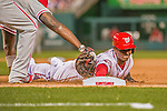 22 May 2015: Washington Nationals outfielder Michael Taylor is picked off of first in the 7th inning against the Philadelphia Phillies at Nationals Park in Washington, DC. The Nationals defeated the Phillies 2-1 in the first game of their 3-game weekend series. Mandatory Credit: Ed Wolfstein Photo *** RAW (NEF) Image File Available ***
