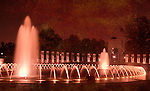 The fountains of the National World War II Memorial in Washington, DC are encircled by large granite pillars engraved with the names of the states.