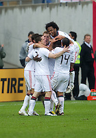 25 April 2010: Toronto FC players celebrate a goal by Toronto FC forward O'Brian White #17 during a game between the Seattle Sounders and Toronto FC at BMO Field in Toronto..Toronto FC won 2-0....