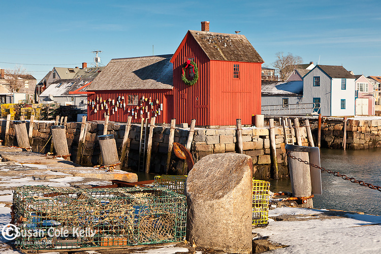 Fresh snow at Motif #1 in Rockport, MA, USA