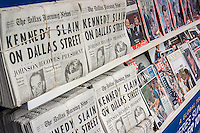 """A 1960's era newsstand, complete with 1963 newspapers and magazines, and contemporarily dressed actors at the promotion for the National Geographic Channel's program """"Killing Kennedy"""" , based on the book of the same name by Bill O'Reilly and Martin Dugard, seen in Herald Square in New York on Wednesday, November 6, 2013. The program will premiere on November 10 and November 22, 2013 is the 50th anniversary of the Kennedy assassination.   (© Richard B. Levine)"""