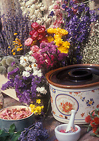 Rose petals, lavender, dried flowers, potpourri crock, ingredients for making scented potpourri &amp; aromatherapy products