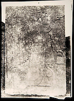 "EXCLUSIVE (b/w photo) Relief depicting a Winged Genie, from the Palace at Nimrud (Kalah), Iraq, Middle East. Lost at Shatt al-Arab in 1855. Picture by Victor Place (1818 - 1875)...Additional info :..Nimroud - Palais du N.O. (N.A. pl. 46-3 ""Divinité Ailée"") - Perdu Chatt el Arab (?) 1855 - Cliché V. Place"