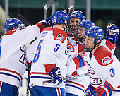 The River Hawks celebrate DeLuca's goal. - The University of Massachusetts-Lowell River Hawks defeated the visiting Bentley University Falcons 8-5 (EN) on Tuesday, January 25, 2011, at Tsongas Arena in Lowell, Massachusetts.
