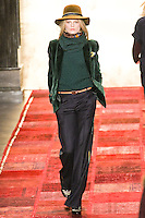Hanne Gaby Odiele walks runway in an outfit from the Tommy Hilfiger Fall 2011 Bohemian Prep collection, during Mercedes-Benz Fashion Week Fall 2011.