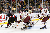 Steve Silva (Northeastern - 17), Cam Atkinson (BC - 13), Tyler McNeely (Northeastern - 94), John Muse (BC - 1) - The Boston College Eagles defeated the Northeastern University Huskies 5-4 in their Hockey East Semi-Final on Friday, March 18, 2011, at TD Garden in Boston, Massachusetts.