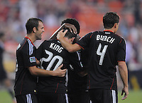 D.C. United midfielder Stephen King (20) celebrates with teammate Chris Pontius (13) his score in the 81th minute of the game. D.C. United defeated The Vancouver Whitecaps FC 4-0 at RFK Stadium, Saturday August 13 , 2011.