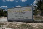 The sign for the school in Coba, Mexico