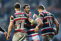 Maxime Mermoz of Leicester Tigers is congratulated on his late try. Aviva Premiership match, between Leicester Tigers and Gloucester Rugby on February 11, 2017 at Welford Road in Leicester, England. Photo by: Patrick Khachfe / JMP