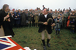 The Wessex Yeomanary race before the hunt starts. The Duke of Beaufort Hunt, Badminton Estate Gloucestershire. This is local farmers race. Lady Caroline Jane Thynne, the first wife of the Duke of beaufort gives out the prize bottle of Champagne. The English Season published by Pavilon Books 1987