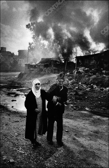 Elderly Palestinians fleeing, Karantina massacre, Beirut, Lebanon, January 18, 1976